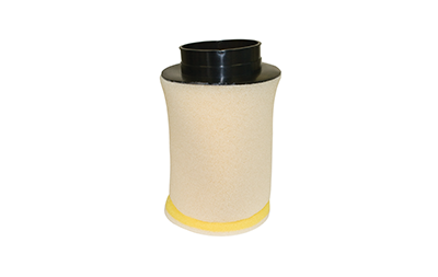 A picture of a yellow, tan air filter
