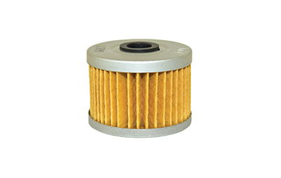 A picture of a yellow, orange oil filter